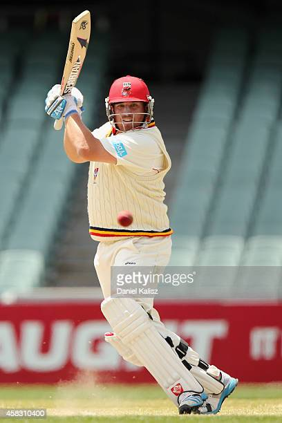 Mark Cosgrove of the Redbacks bats during day four of the Sheffield Shield match between South Australia and Queensland at Adelaide Oval on November...
