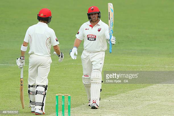 Mark Cosgrove of the Redbacks celebrates his half century during day three of the Sheffield Shield match between the Queensland Bulls and South...
