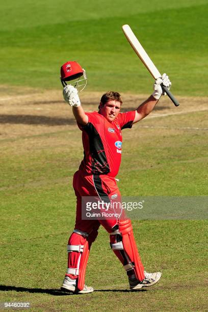 Mark Cosgrove of the Redbacks celebrates making his century during the Ford Ranger Cup match between the Victorian Bushrangers and the South...