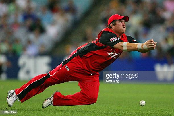 Mark Cosgrove of the Redbacks drops a chance to dismiss David Warner of the Blues during the Twenty20 Big Bash match between the New South Wales...
