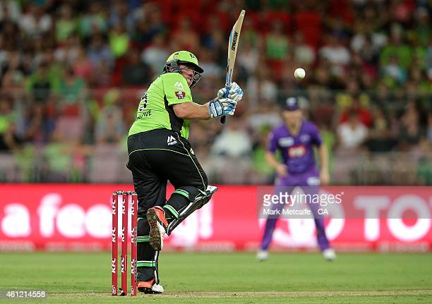 Mark Cosgrove of the Thunder bats during the Big Bash League match between the Sydney Thunder and Hobart Hurricanes at Spotless Stadium on January 9...