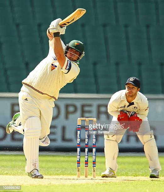 Mark Cosgrove of the Tigers bats during day one of the Sheffield Shield match between the Victorian Bushrangers and the Tasmanian Tigers at Melbourne...