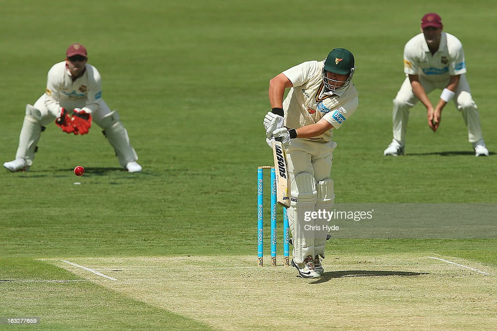 Mark Cosgrove of the Tigers bats during day one of the Sheffield Shield match between the Queensland Bulls and the Tasmanian Tigers at The Gabba on March 7, 2013 in Brisbane, Australia.