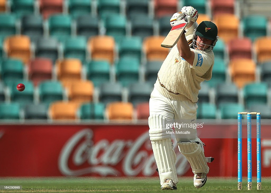 Mark Cosgrove of the Tigers bats during day one of the Sheffield Shield final between the Tasmania Tigers and the Queensland Bulls at Blundstone Arena on March 22, 2013 in Hobart, Australia.