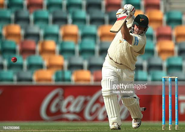 Mark Cosgrove of the Tigers bats during day one of the Sheffield Shield final between the Tasmania Tigers and the Queensland Bulls at Blundstone...