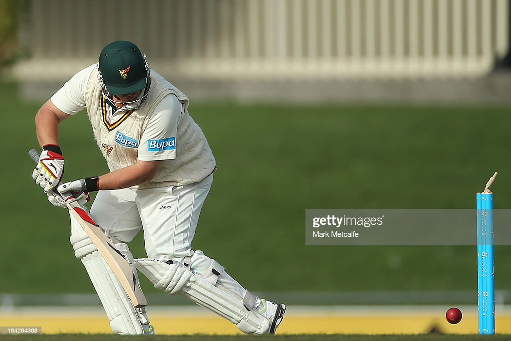 <a gi-track='captionPersonalityLinkClicked' href=/galleries/search?phrase=Mark+Cosgrove&family=editorial&specificpeople=227329 ng-click='$event.stopPropagation()'>Mark Cosgrove</a> of the Tigers plays onto his own wicket off the bowling of Michael Neser of the Bulls during day one of the Sheffield Shield final between the Tasmania Tigers and the Queensland Bulls at Blundstone Arena on March 22, 2013 in Hobart, Australia.