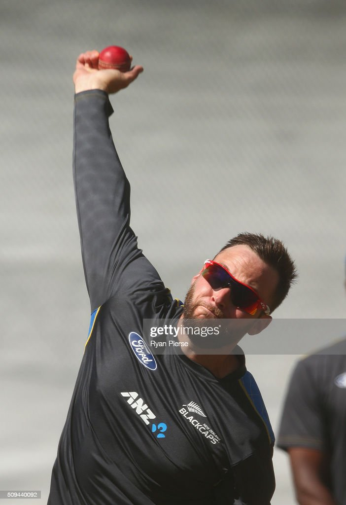 Mark Craig of New Zealand bowls during a New Zealand nets session at Basin Reserve on February 11, 2016 in Wellington, New Zealand.