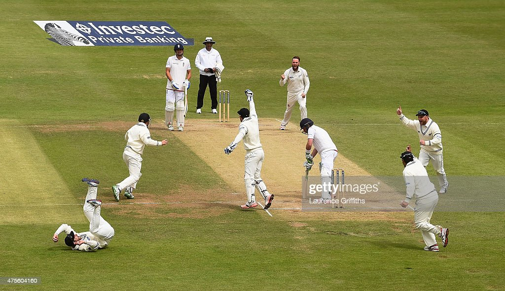Mark Craig of New Zealand celebrates taking the wicket of Ian Bell of England caught by Kane Williamson for1 run during day five of the 2nd Investec...