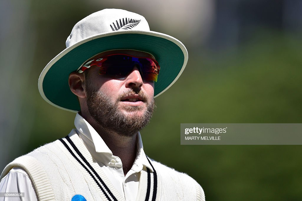 Mark Craig of New Zealand looks on during day two of the first cricket Test match between New Zealand and Australia at the Basin Reserve in Wellington on February 13, 2016. AFP PHOTO / MARTY MELVILLE / AFP / Marty Melville