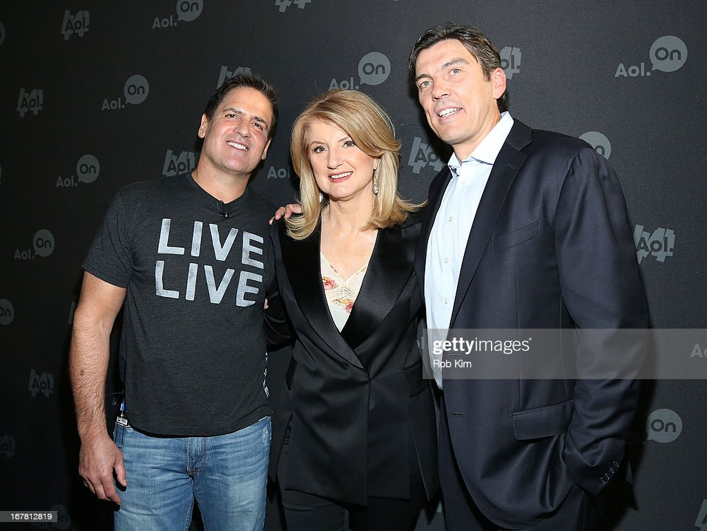 Mark Cuban, Arianna Huffington and AOL CEO Tim Armstrong attend the AOL 2013 Digital Content NewFront on April 30, 2013 in New York City.