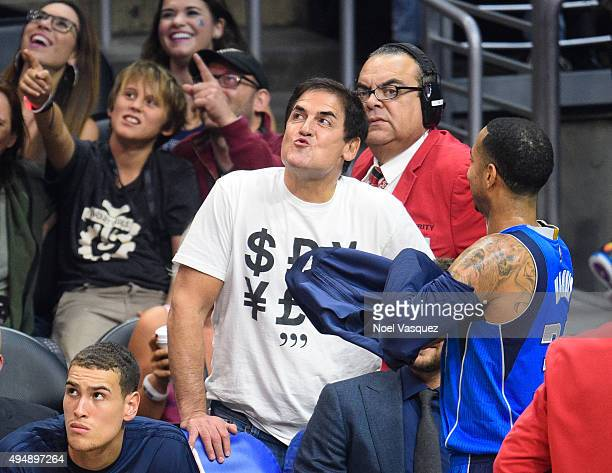 Mark Cuban blows kisses at a basketball game between the Dallas Mavericks and the Los Angeles Clippers at Staples Center on October 29 2015 in Los...