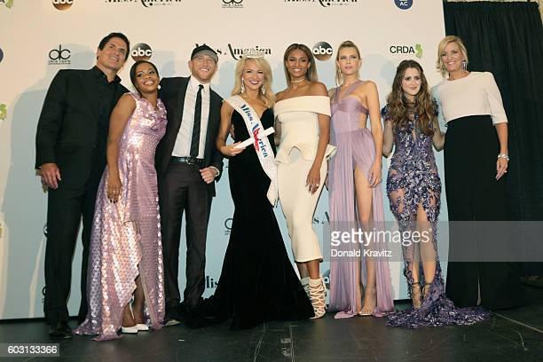 Mark Cuban Gabby Douglas Cole Swindell Savvy Shields Ciara Sara Foster Laura Marano and Sharlene Wells Hawkes appear during the 2017 Miss America...