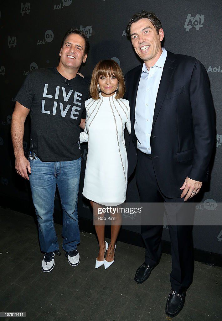 Mark Cuban, Nicole Richie and AOL CEO Tim Armstrong attend the AOL 2013 Digital Content NewFront on April 30, 2013 in New York City.