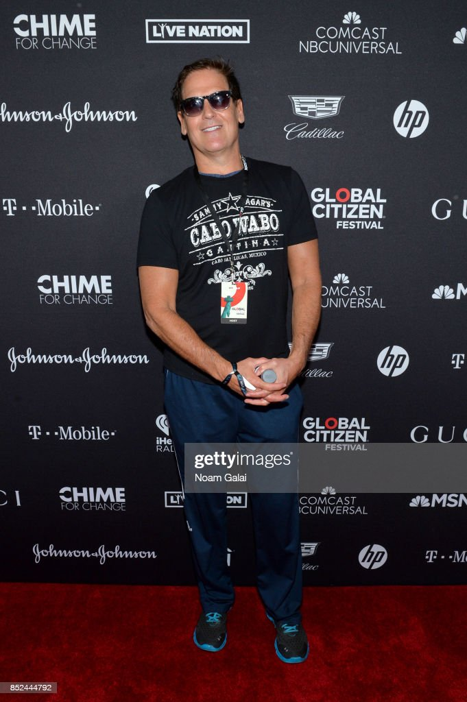 Mark Cuban poses in the VIP Lounge during the 2017 Global Citizen Festival in Central Park on September 23, 2017 in New York City.