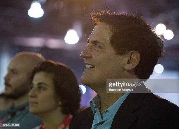 Mark Cuban watches as Bas Rutten is inducted into the UFC Hall of Fame at the UFC Fan Expo in the Sands Expo and Convention Center on July 11 2015 in...