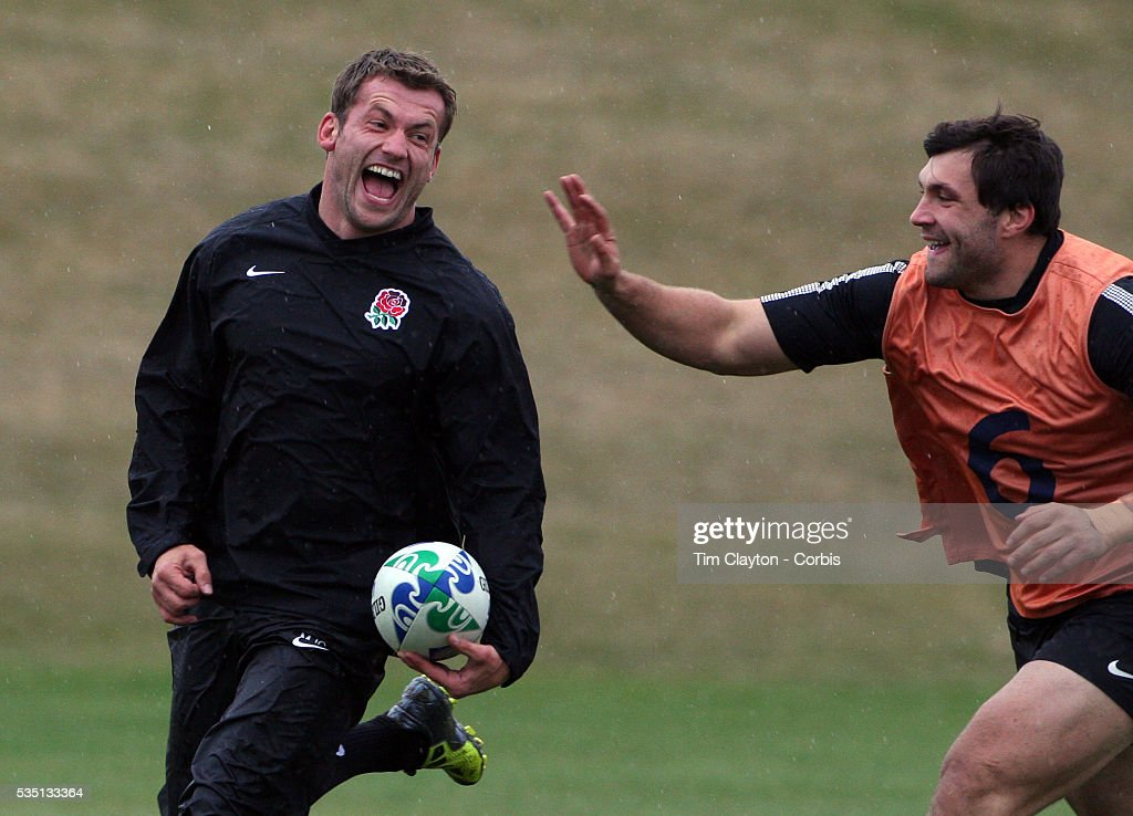 Mark Cueto and Alex Corbisiero during the English Rugby team training session at the Queenstown Events Centre in preparation for their match with...