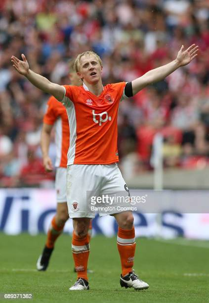 Mark Cullen of Blackpool celebrates as he scores their second goal during the Sky Bet League Two Playoff Final between Blackpool and Exeter City at...