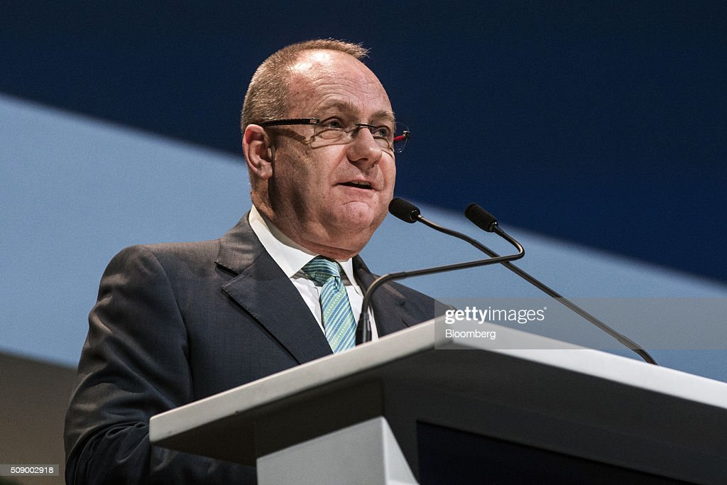 Mark Cutifani, chief executive officer of Anglo American Plc, speaks on the opening day of the Investing in African Mining Indaba in Cape Town, South Africa, on Monday, Feb. 8, 2016. With many miners battling to stay afloat, fewer are willing to shell out 1,140 pounds ($1,641) for the Investing in African Mining Indaba conference in South Africa and business-class airfare. Photographer: Waldo Swiegers/Bloomberg via Getty Images