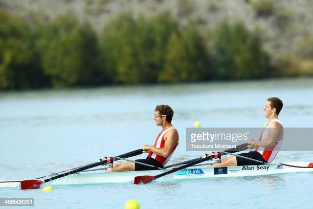 Mark Dadson and Connor Mocke of Avon compete in the Mens club double sculls final during the South Island Club Championships at Lake Ruataniwha on...