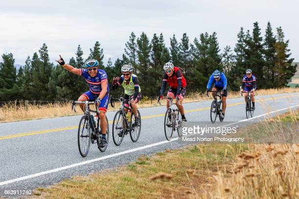 Mark Dalton from Team USPS having fun during the Tour of New Zealand on April 3 2017 in Wanaka New Zealand