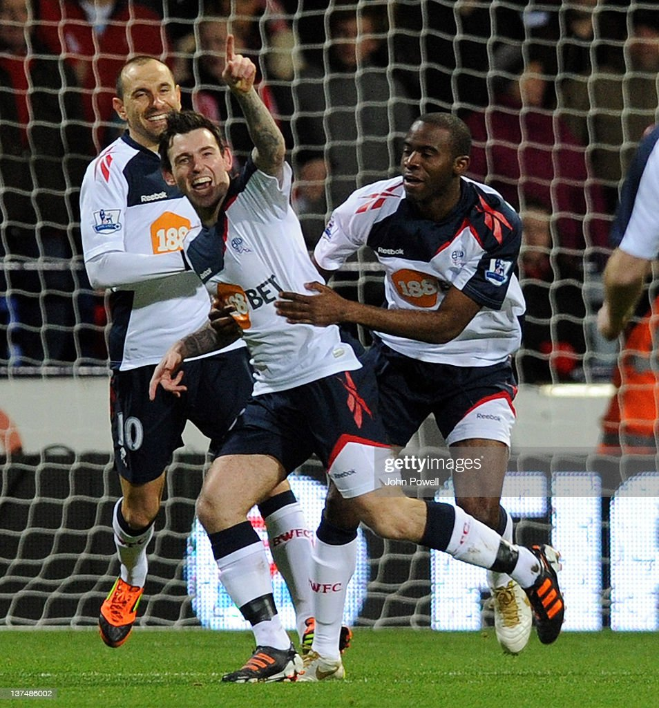Mark Davies of Bolton Wanderers celebrates after scoring the opening goal of the Barclays Premier League match between Bolton Wanderers and Liverpool at Reebok Stadium on January 21, 2012 in Bolton, England.