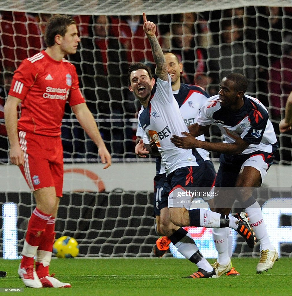 Mark Davies of Bolton Wanderers celebrates with team-mates after scoring the opening goal during the Barclays Premier League match between Bolton Wanderers and Liverpool at Reebok Stadium on January 21, 2012 in Bolton, England.