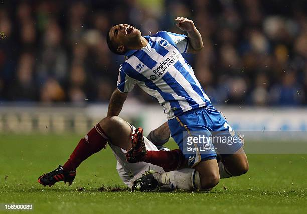 Mark Davies of Bolton Wanderers tackles Liam Bridcutt of Brighton Hove Albion during the npower Championship match between Brighton Hove Albion and...