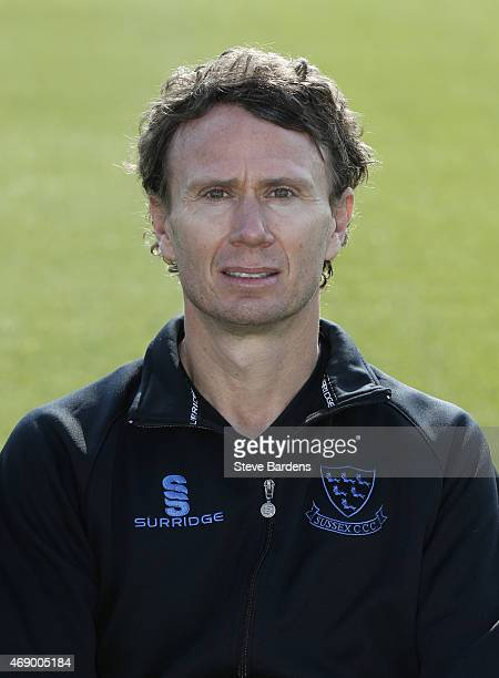 Mark Davis during the Sussex County Cricket Photocall at BrightonandHoveJobscom County Ground on April 9 2015 in Hove England