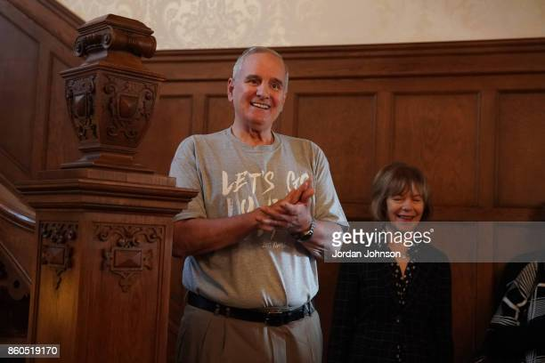 Mark Dayton govenor of Minnesota speaks to the Minnesota Lynx at the Minnesota Governor's Residence on October 6 2017 at The University of Minnesota...
