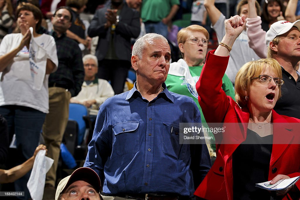 <a gi-track='captionPersonalityLinkClicked' href=/galleries/search?phrase=Mark+Dayton&family=editorial&specificpeople=612750 ng-click='$event.stopPropagation()'>Mark Dayton</a>, governor of Minnesota, looks on during Game One of the 2012 WNBA Western Conference Finals between the Los Angeles Sparks and Minnesota Lynx on October 4, 2012 at Target Center in Minneapolis, Minnesota.