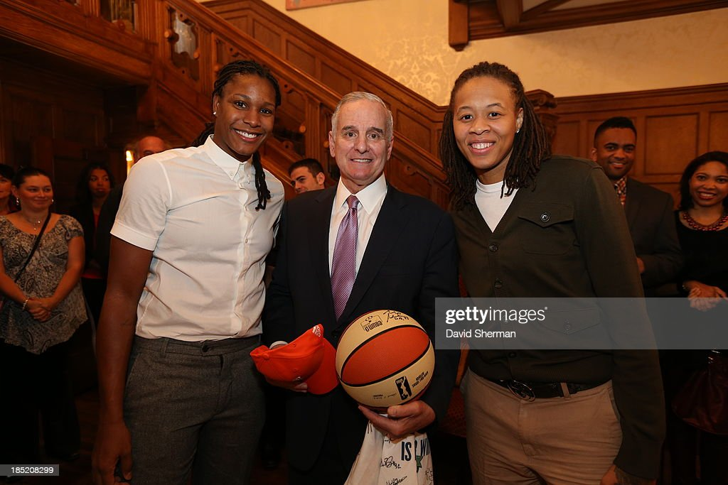 <a gi-track='captionPersonalityLinkClicked' href=/galleries/search?phrase=Mark+Dayton&family=editorial&specificpeople=612750 ng-click='$event.stopPropagation()'>Mark Dayton</a> Governor of the State of Minnesota poses for a photograph with <a gi-track='captionPersonalityLinkClicked' href=/galleries/search?phrase=Seimone+Augustus&family=editorial&specificpeople=540457 ng-click='$event.stopPropagation()'>Seimone Augustus</a> and <a gi-track='captionPersonalityLinkClicked' href=/galleries/search?phrase=Rebekkah+Brunson&family=editorial&specificpeople=213521 ng-click='$event.stopPropagation()'>Rebekkah Brunson</a> of the 2013 WNBA Champion Minnesota Lynx at The Minnesota Governor's Residence on October 14, 2013 in St. Paul, Minnesota.