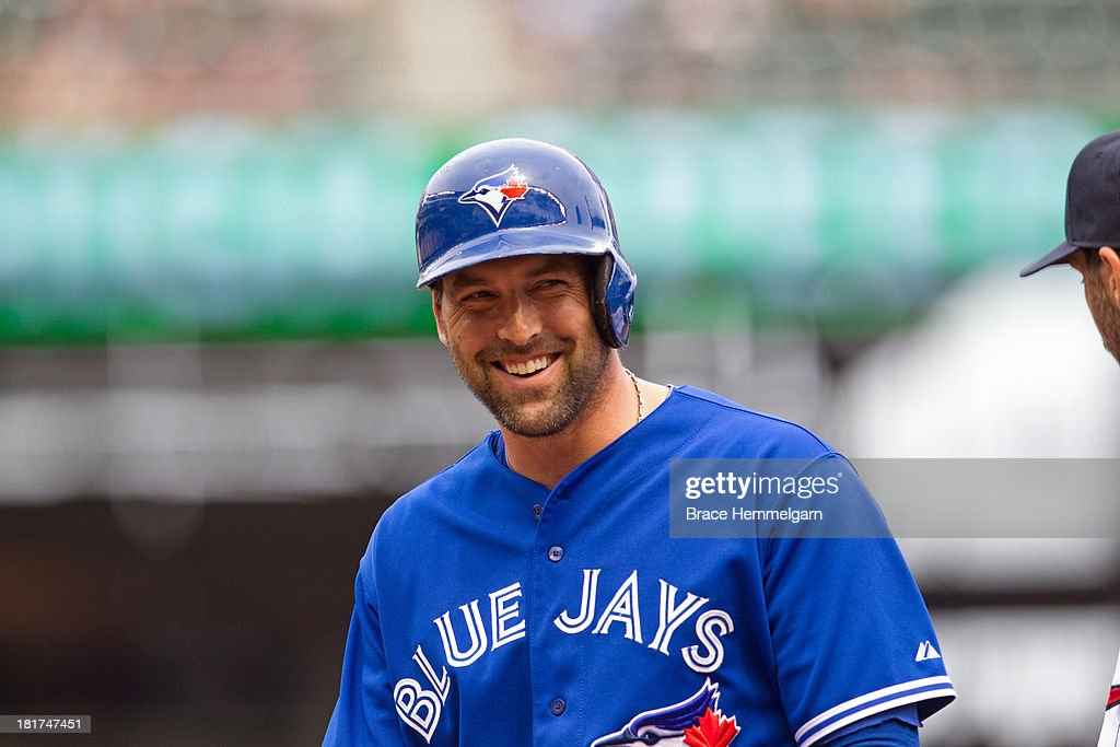 <a gi-track='captionPersonalityLinkClicked' href=/galleries/search?phrase=Mark+DeRosa&family=editorial&specificpeople=228401 ng-click='$event.stopPropagation()'>Mark DeRosa</a> #16 of the Toronto Blue Jays smiles against the Minnesota Twins on September 8, 2013 at Target Field in Minneapolis, Minnesota. The Blue Jays defeated the Twins 2-0.