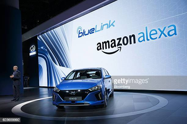 Mark Dipko director of corporate planning and strategy for Hyundai Motor America introduces a partnership with Amazon Alexa for the 2017 Hyundai...