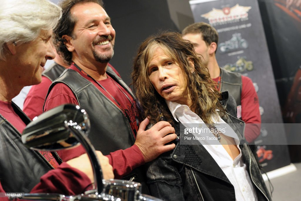 Mark Dirico, Steven Talarico, <a gi-track='captionPersonalityLinkClicked' href=/galleries/search?phrase=Steven+Tyler+-+Musician&family=editorial&specificpeople=202080 ng-click='$event.stopPropagation()'>Steven Tyler</a>'s cousin and <a gi-track='captionPersonalityLinkClicked' href=/galleries/search?phrase=Steven+Tyler+-+Musician&family=editorial&specificpeople=202080 ng-click='$event.stopPropagation()'>Steven Tyler</a> leader of Aereosmith attend Dirico motor presentation during the EICMA 2013 71st International Motorcycle Exhibition on November 5, 2013 in Milan, Italy.