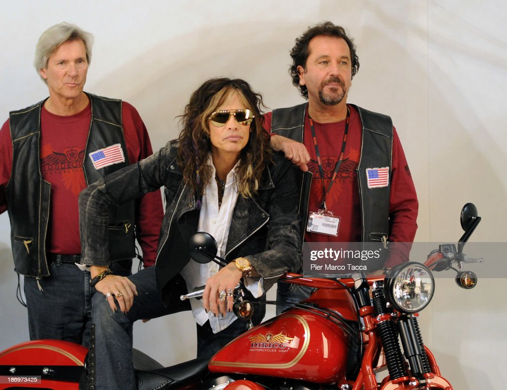 Mark Dirico, <a gi-track='captionPersonalityLinkClicked' href=/galleries/search?phrase=Steven+Tyler+-+Musician&family=editorial&specificpeople=202080 ng-click='$event.stopPropagation()'>Steven Tyler</a> and Steven Talarico, <a gi-track='captionPersonalityLinkClicked' href=/galleries/search?phrase=Steven+Tyler+-+Musician&family=editorial&specificpeople=202080 ng-click='$event.stopPropagation()'>Steven Tyler</a>'s cousin, attend Dirico motor presentation during the EICMA 2013 71st International Motorcycle Exhibition on November 5, 2013 in Milan, Italy.