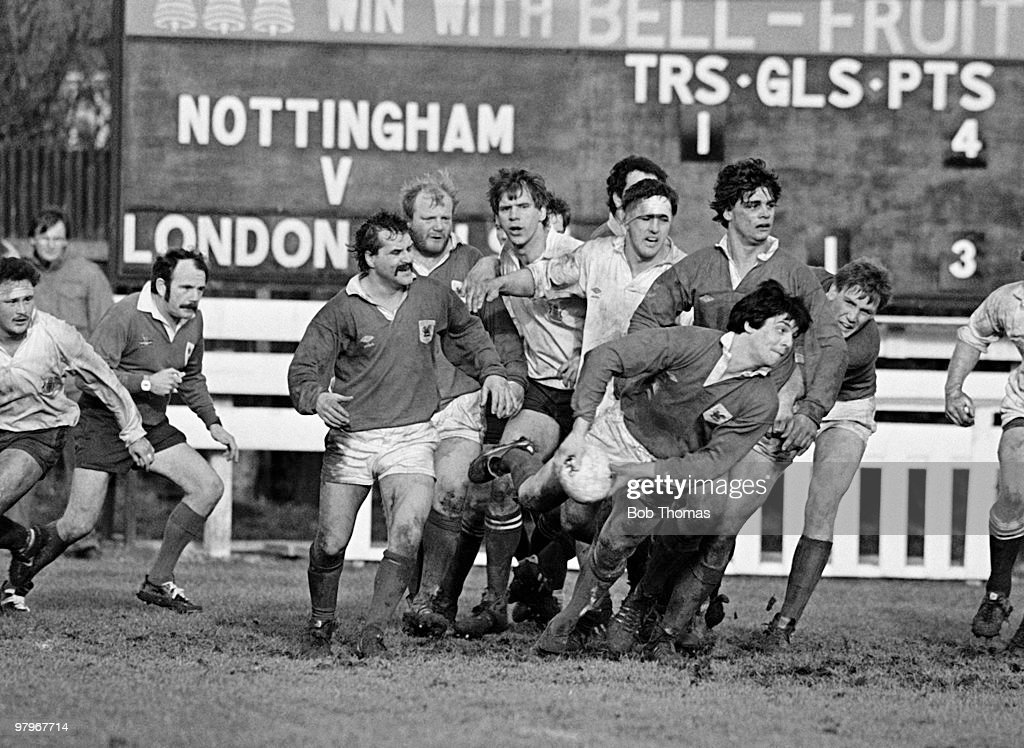 Mark Douglas of London Welsh passes the ball during the Nottingham v London Welsh John Player Cup Rugby Union match played at Beeston, Nottingham on the 23rd February 1985. London Welsh won the match 12-11.