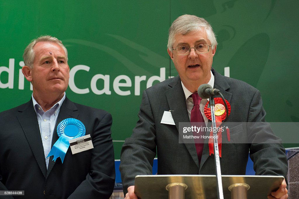 Mark Drakeford Labour AM for Cardiff West speaks after retaining his seat during the National Assembly for Wales election count at the Sport Wales National Centre on May 06, 2016 in Cardiff, Wales. Pictured left is Conservative candidate Sean Driscoll. Yesterday the UK went to the polls to vote for assembly members, councillors, mayors and police commissioners.