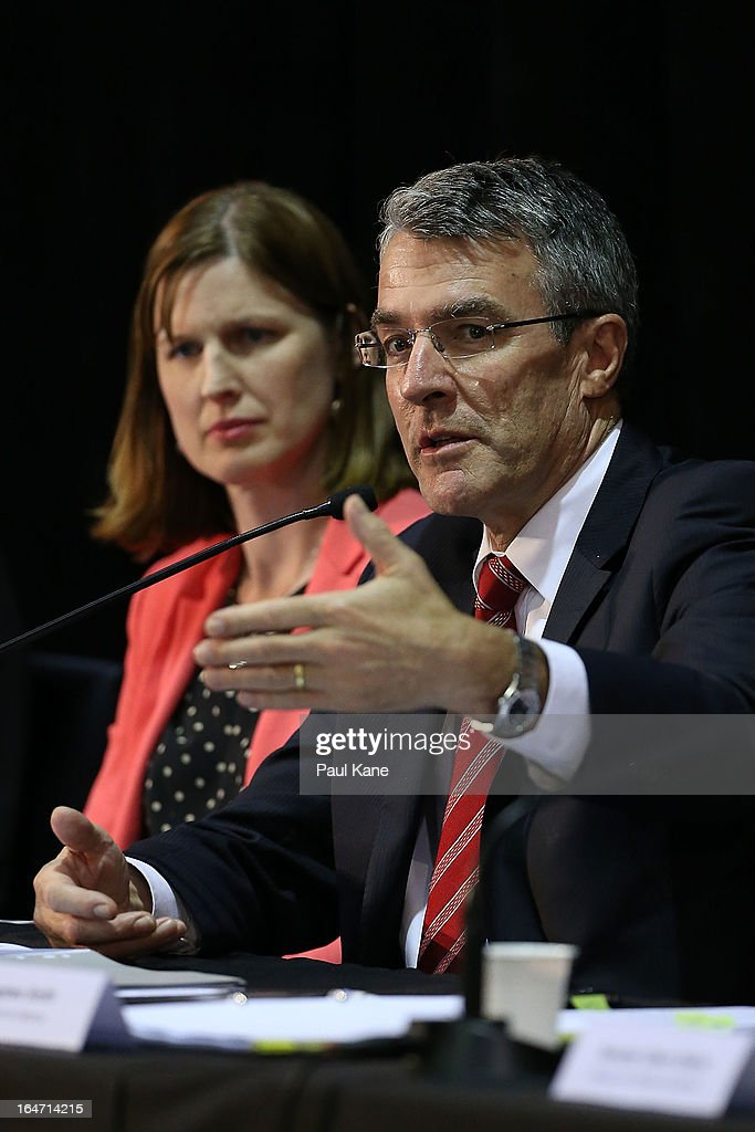 Mark Dreyfus, Australian Attorney-General answers a question from a member of the public at Thornlie Senior High School on March 27, 2013 in Perth, Australia. Gillard held a community cabinet meeting with members of her new front bench in the suburb of Thornlie today, in her first visit to WA since the Labor party lost state elections.