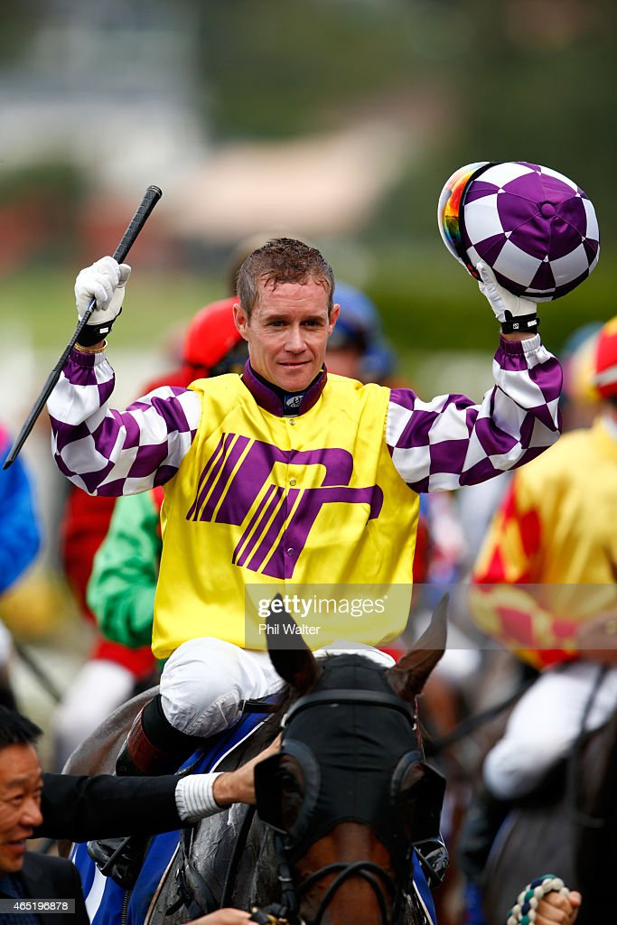 Mark Du Plessis riding Rock Diva celebrates winning the Auckland Cup during Auckland Cup Day at Ellerslie Racecourse on March 4 2015 in Auckland New...