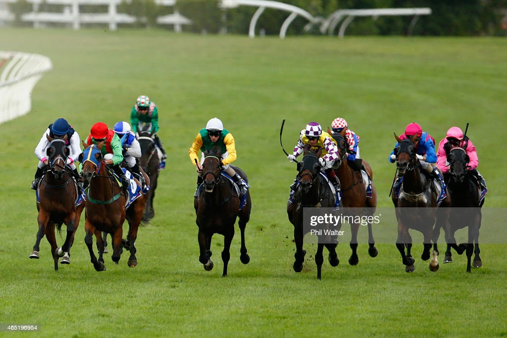Mark Du Plessis riding Rock Diva wins the Auckland Cup during Auckland Cup Day at Ellerslie Racecourse on March 4 2015 in Auckland New Zealand