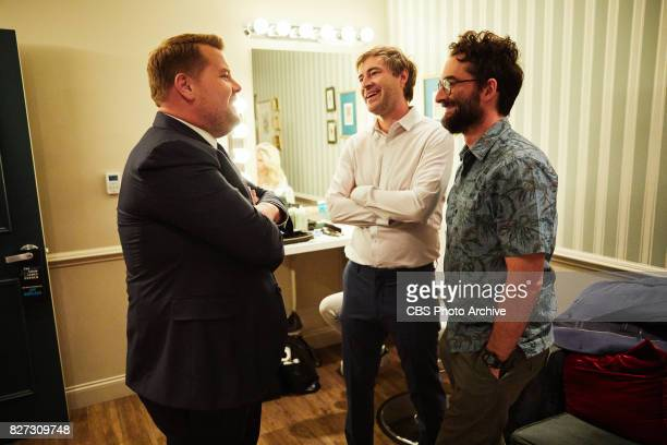 Mark Duplass and Jay Duplass chat with James Corden in the green room during 'The Late Late Show with James Corden' Tuesday July 25 2017 On The CBS...