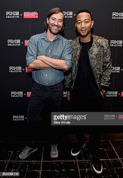 Mark Duplass and John Legend cohost the AXE Collective Vanguard Honours Mentorship Session during the Toronto International Film Festival at Ted...
