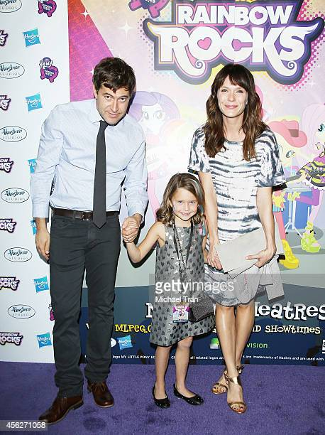 Mark Duplass daughter Ora Duplass and wife Katie Aselton arrive at the Los Angeles premiere of 'My Little Pony Equestria Girls Rainbow Rocks' held at...