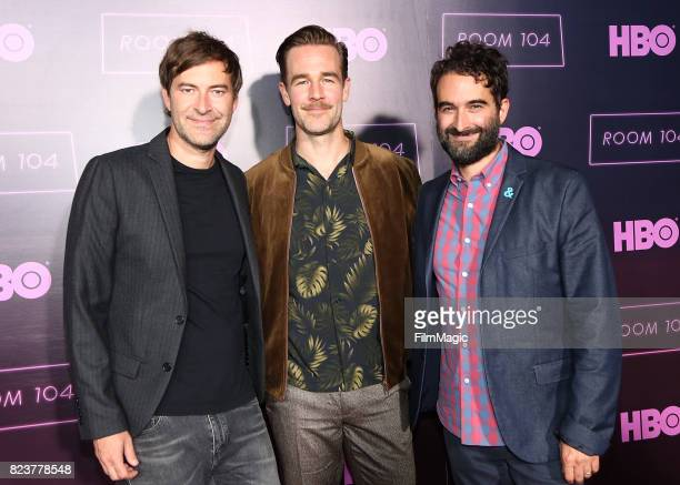 Mark Duplass James Van Der Beek and Jay Duplass attend HBO 'Room 104' Premiere at Hollywood Forever on July 27 2017 in Hollywood California