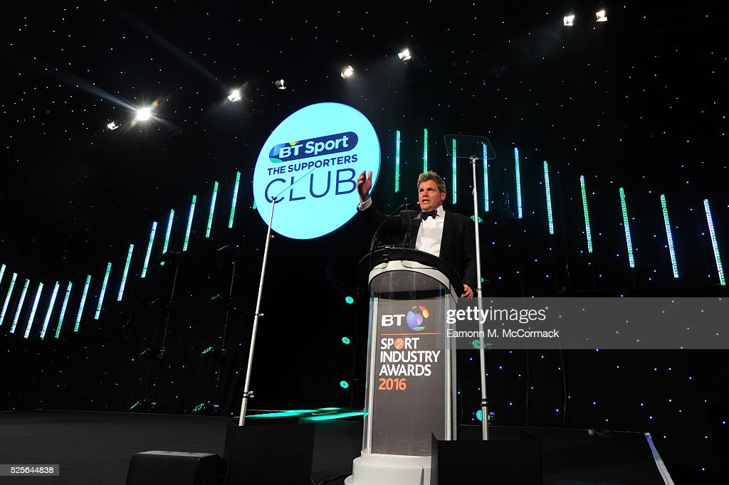Mark Durden-Smith talks on stage at the BT Sport Industry Awards 2016 at Battersea Evolution on April 28, 2016 in London, England. The BT Sport Industry Awards is the most prestigious commercial sports awards ceremony in Europe, where over 1750 of the industry's key decision-makers mix with high profile sporting celebrities for the most important networking occasion in the sport business calendar.