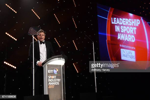 Mark DurdenSmith talks on stage during the BT Sport Industry Awards 2017 at Battersea Evolution on April 27 2017 in London England The BT Sport...