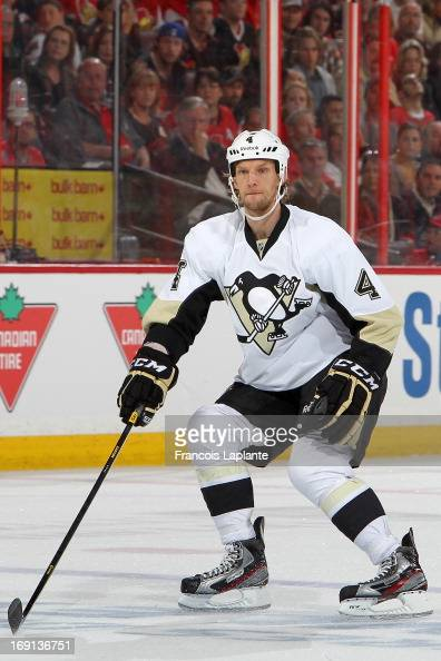 Mark Eaton of the Pittsburgh Penguins defends against the Ottawa Senators in Game Three of the Eastern Conference Semifinals during the 2013 NHL...