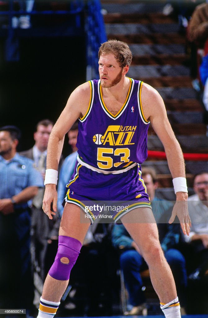 Mark Eaton of the Utah Jazz defends against the Sacramento Kings circa 1991 at Arco Arena in Sacramento California NOTE TO USER User expressly...