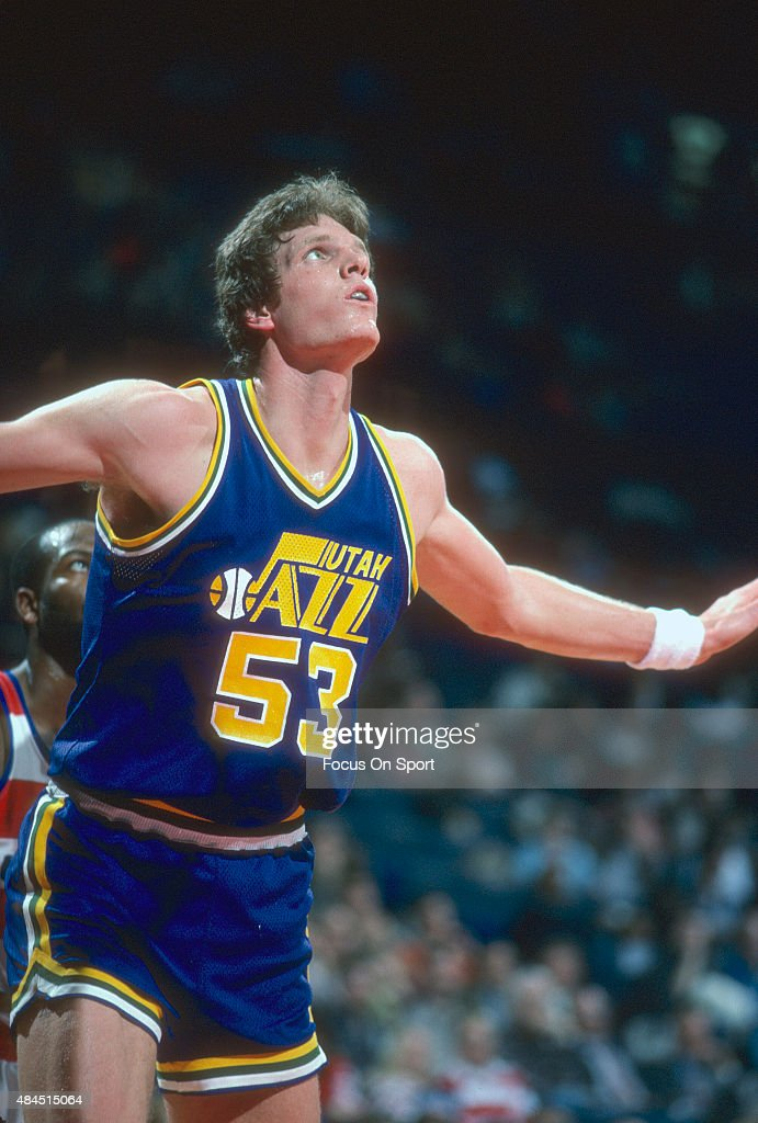 Mark Eaton of the Utah Jazz goes in action against the Washington Bullets during an NBA basketball game circa 1984 at the Capital Centre in Landover...