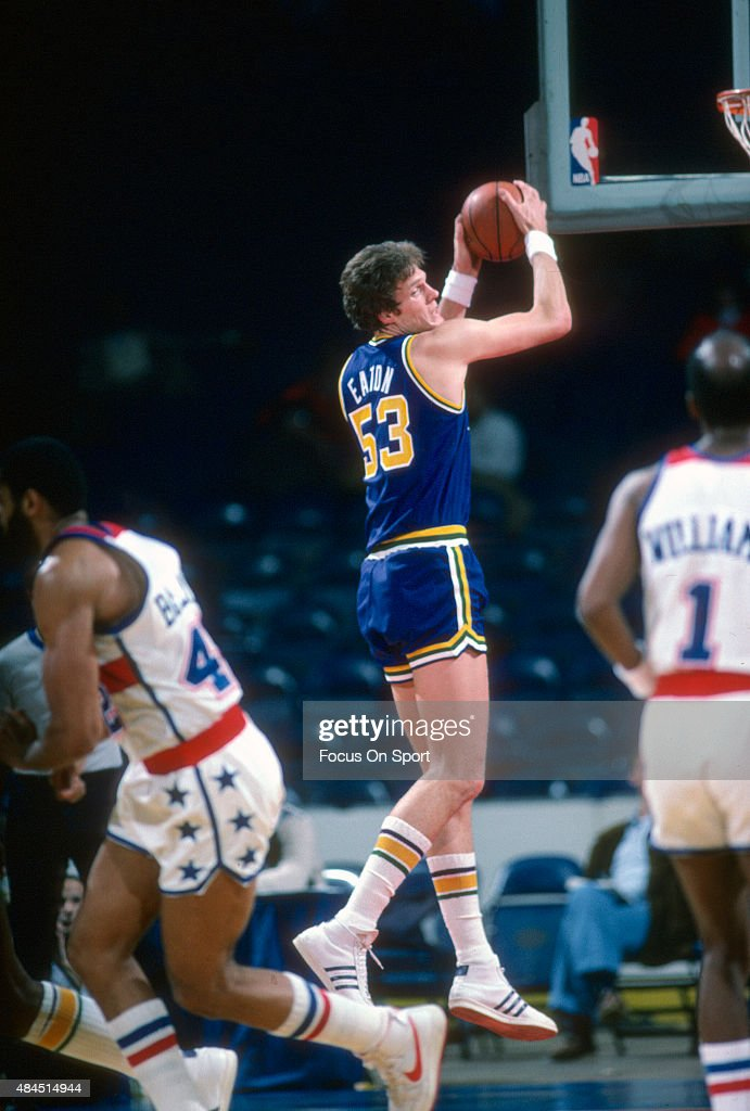 Mark Eaton of the Utah Jazz grabs a rebound against the Washington Bullets during an NBA basketball game circa 1984 at the Capital Centre in Landover...